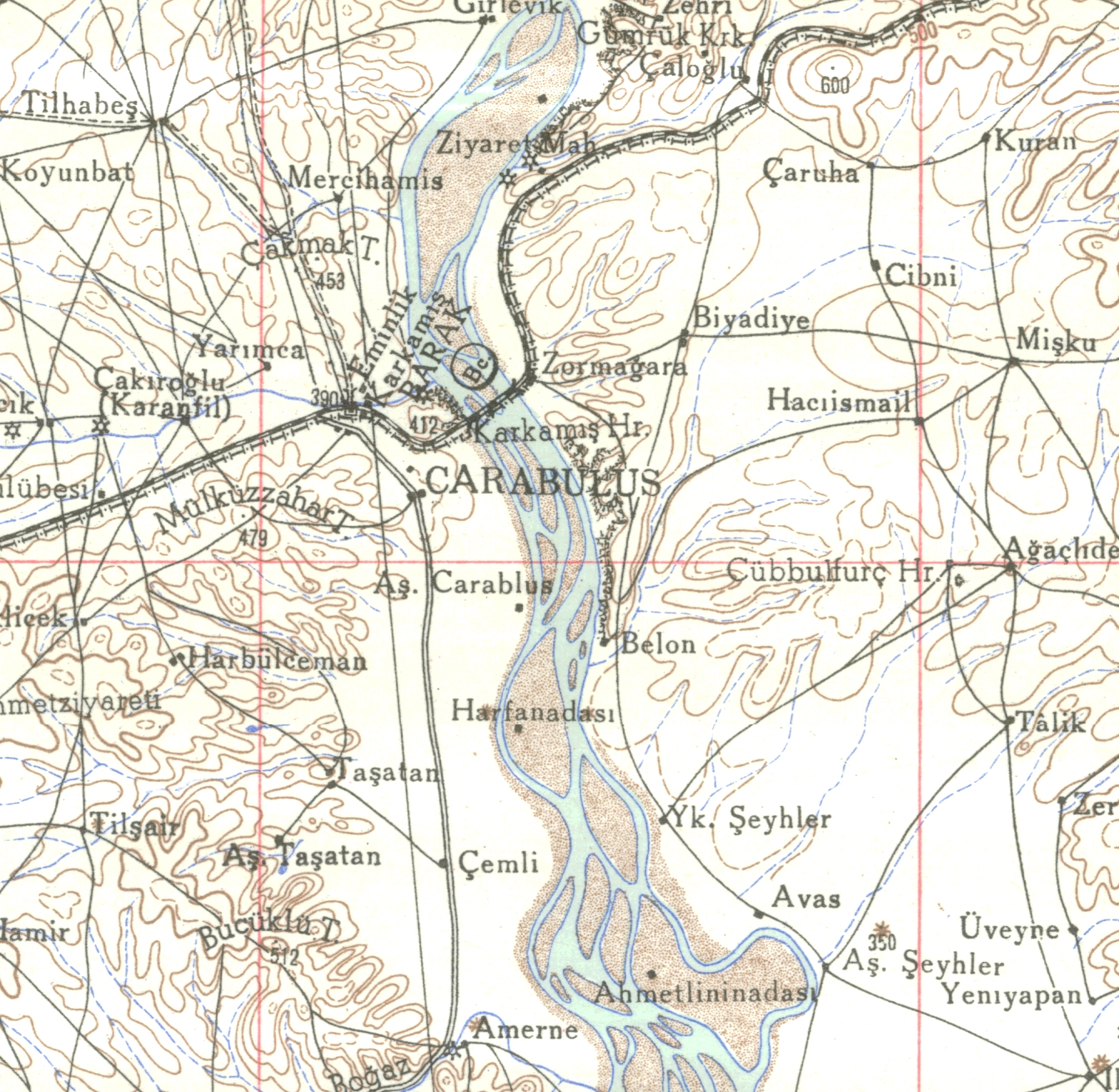 Carte de Birecik de 1915, avant toute frontière (fonds de l'IFEA) (on reconnaît Birecik au nord sur le fleuve Euphrate et la voie ferrée).