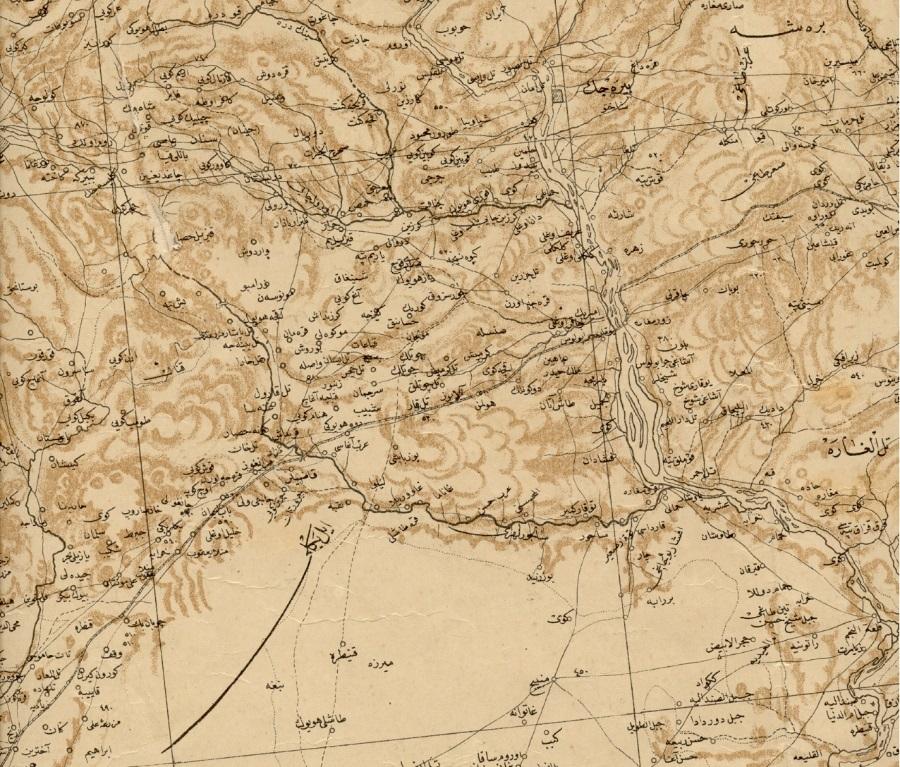 Carte de Birecik de 1915, avant toute frontière (fonds de l'IFEA) (on reconnaît Birecik au nord sur le fleuve Euphrate et la voie ferrée)