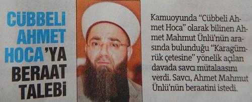 Blanchiment probable d'Ahmet Hoca par la justice turque. Türkiye, 27/03/2015