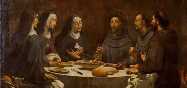 Saint Francis and Saint Clare at Supper in the Convent of Saint Damian / Antoni Viladomat i Manalt (1678–1755), 1724/1733 (Museu Nacional d'Art de Catalunya; Google Art Project)