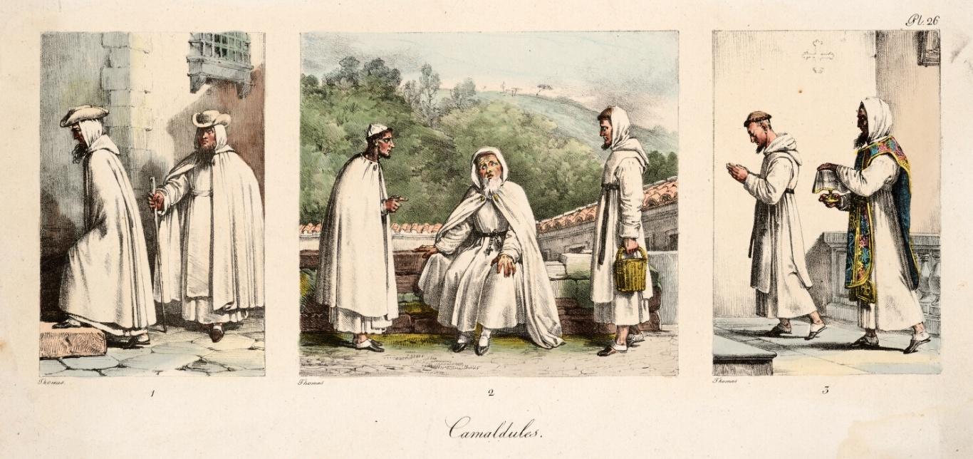 Antoine Jean-Baptiste Thomas (1791–1833) Un an a Rome et dans ses environs, Paris, 1823, t. 26. http://www.webumenia.sk/dielo/SVK:GMB.C_22760/zoom datovanie: 1830–1860 rozmer: výška 14.0 cm, šírka 31.0 cm, výška 20.4 cm, šírka 36.3 cm výtvarný druh: grafika › vo¾ná žáner: figurálna kompozícia materiál: papier technika: litografia kolorovanie znaèenie: v¾avo, v strede, vpravo dole pod obrazom Thomas vpravo hore nad obrazom Pl 26 v strede dole pod obrazom Camaldules zobrazi viac galéria: Galéria mesta Bratislavy, GMB inventárne èíslo: C 22760