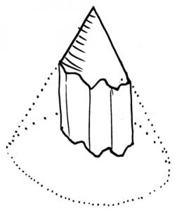 Sketch of the time-space model with a conic time space surface limited by the shoreline of an island