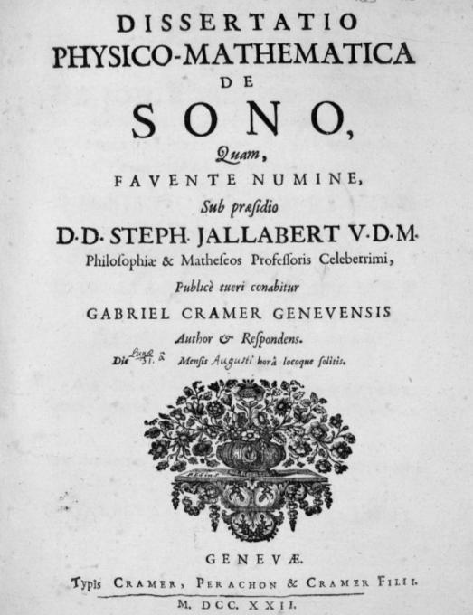 Page de titre de la Dissertatio physico-mathematica de sono (thèse sur le son soutenu sous la présidence d'Etienne Jallabert)
