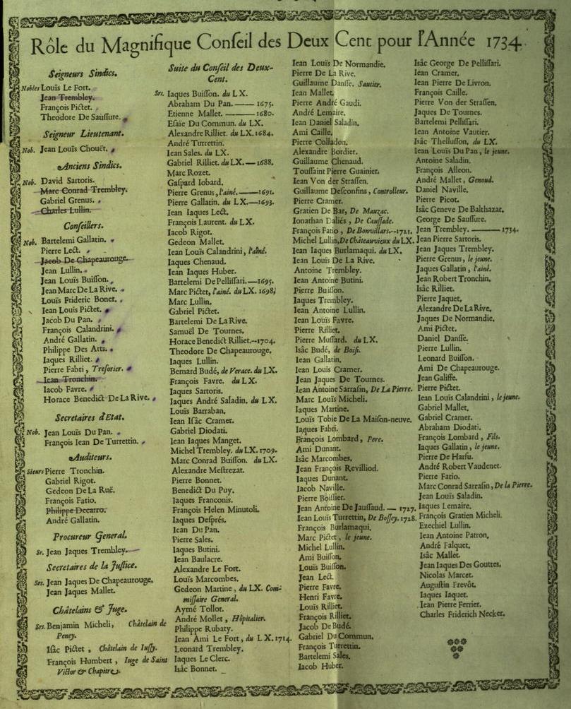 Rôle de Conseil des CC pour l'année 1734 (Cramer en milieu de dernière colonne)
