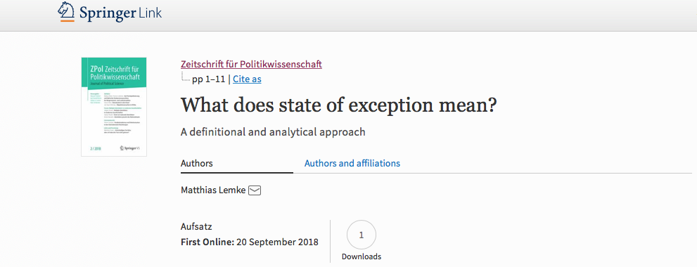 What does state of exception mean? – A definitional and analytical approach