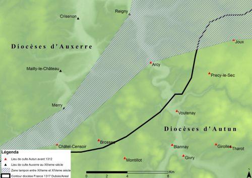 Figure 6 : Zone tampon entre XIIIe et XIVe siècle entre le diocèse d'Auxerre et le diocèse d'Autun