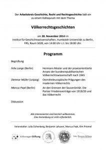 Völkerrechtsgeschichten, 28. November 2014