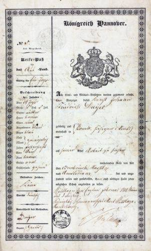 """Reisepass für den Knecht Johann Friedrich Dreyer aus Bohmte, Amt Wittlage-Hunteburg, vom 1. Februar 1839. Er gibt an, nach Amsterdam reisen zu wollen, um sich dort """"Arbeit zu suchen"""".  (NLA OS, Rep 350 Wit Nr. 317 I)"""