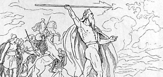 Odin brandit sa lance aux Vanes, illustration réalisée par Lorenz Frølich en 1885.