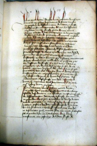 Première page du formulaire des actes (Paris BnF, fr 5341, fol. 29r)