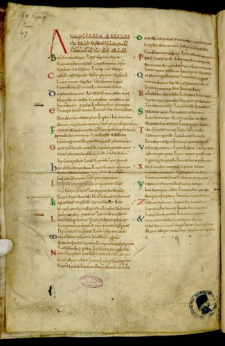 Avranches ms 98, f.228 v. Hymne à saint Michel