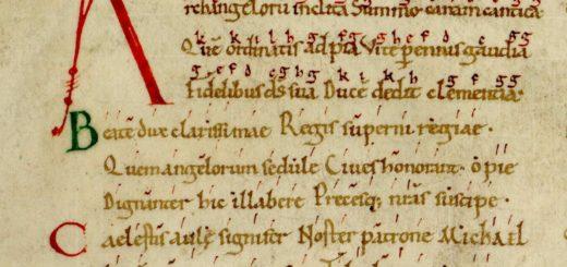 Avranches ms 98, f.228 v. Hymne à saint Michel, détail