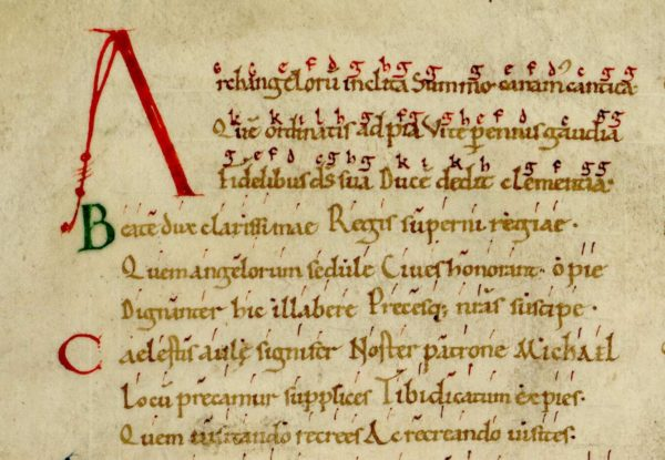 Avranches ms 98, f.228 v. Hymne à saint Michel, détail