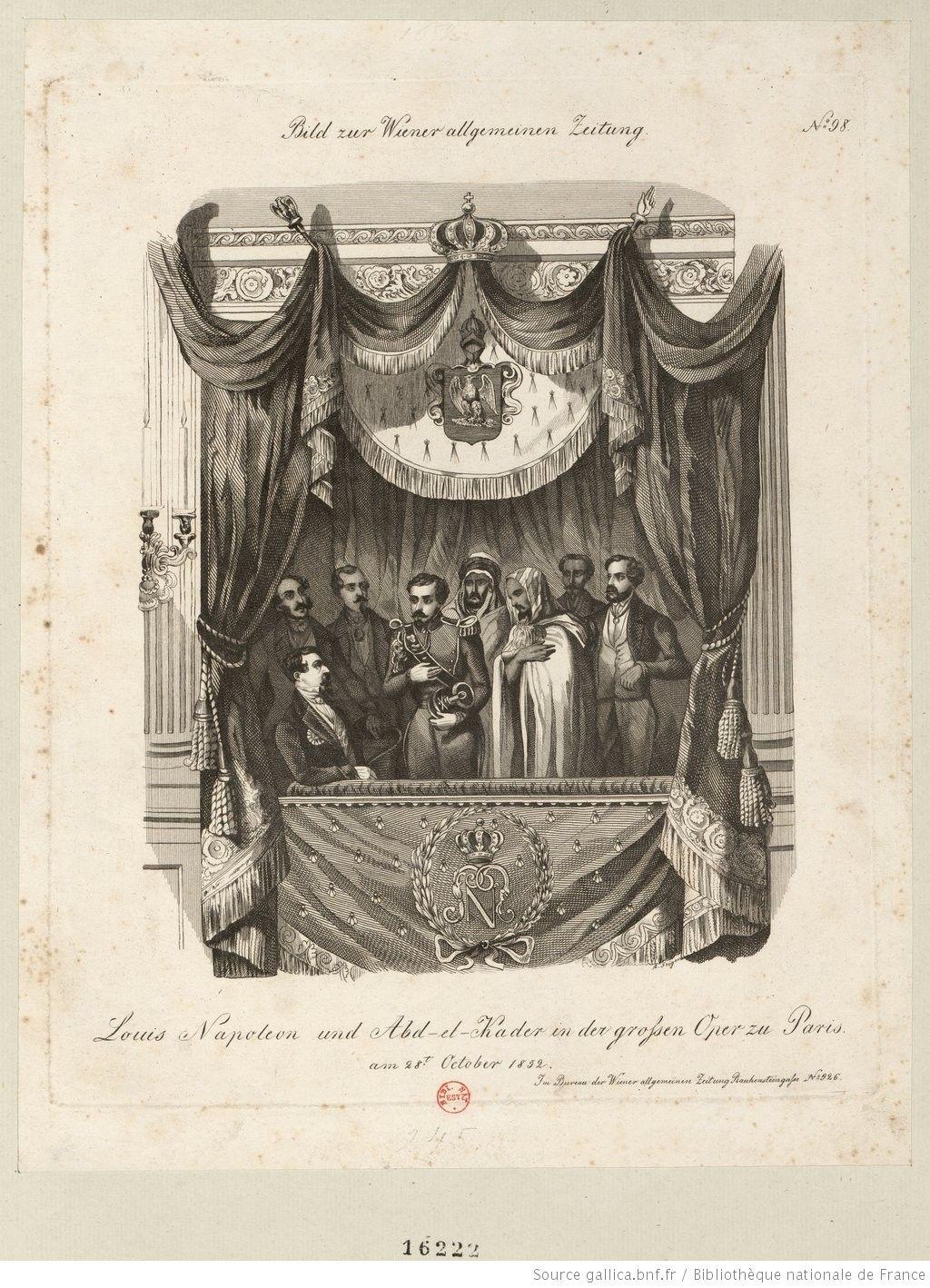 Abd el-Kader dans la loge impériale à l'Opéra le 28 octobre 1852.