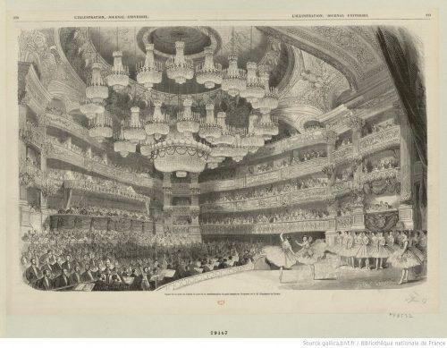 Aspect de la Salle de l'Opéra le jour de la représentation de gala donnée en l'honneur de S. M. l'Empereur de Russie.