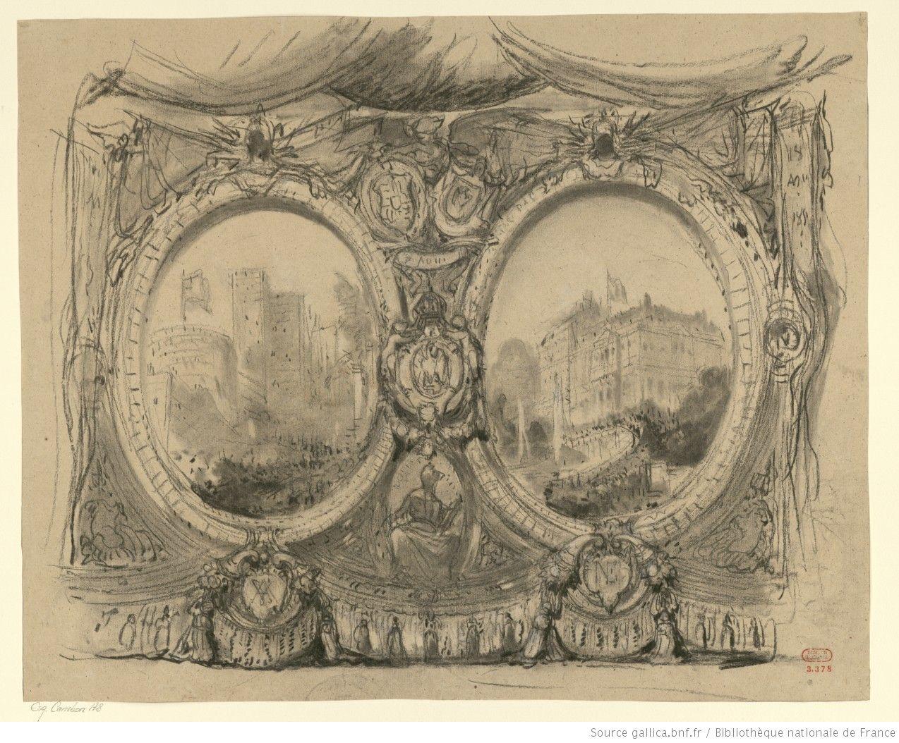 Rideau aux monogrammes de la reine Victoria et d'Albert (VA), et de Napoléon III et Eugénie (NE)