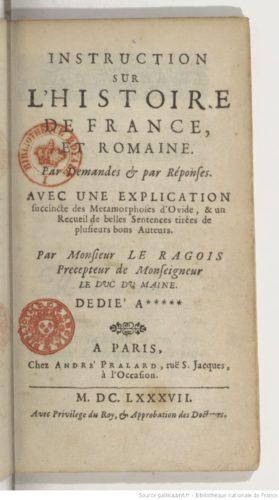 Claude Le Ragois, Instruction sur l'histoire de France et romaine