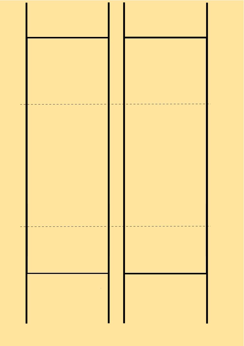 Esquema de pautado. La línea intermiten indica dónde se ha cortado el bifolio.