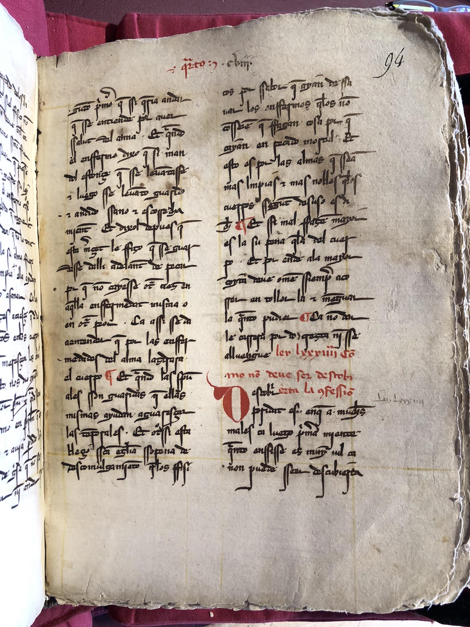 BnF, esp. 440, fol. 94r, caja de escritura trazada con tinta amarilla