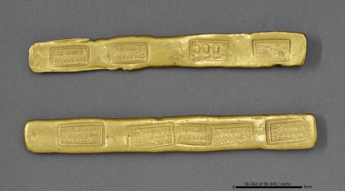 Deux lingots d'or romains découverts à Crasna (Roumanie) en 1887