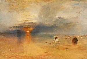 Plage de Calais à marée basse (« poissards » ramassant des appâts), 1830, copyright © Bury Art Museum, Greater Manchester UK