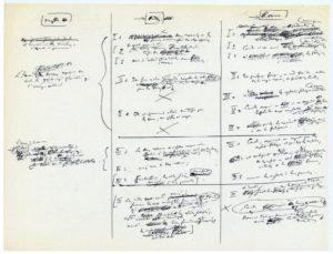 Figure 3. Tableau de concordances entre « Mythes, Rites, Romans » autour de l'Aurore et Camille, juste avant le texte de la IIIe partie intitulé « Les trois fonctions dans la vie de Coriolan ».