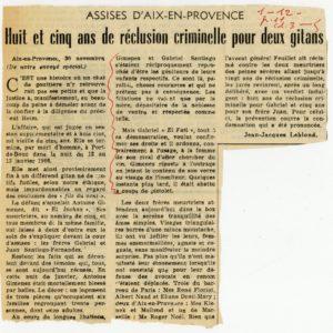 Figure 4. Coupure de presse : « Assises d'Aix-en-Provence (…) Huit et cinq ans de réclusion criminelle pour deux gitans », par Jean-Jacques Leblond, le 30 novembre [1971].