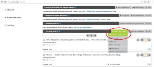 capture d'écran de l'alimentation automatique du profil ORCID