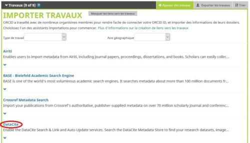 Capture d'écran de l'import du DOI dans le profil ORCID via Datacite