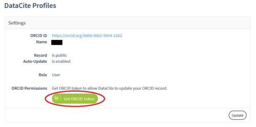 Capture d'écran de la demande d'aurisation d'attribution de Doi via Datacite