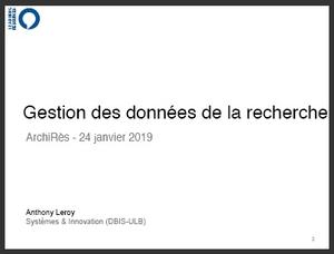 Lire l'Enquête sur les données de la recherche à l'ULB par A Leroy
