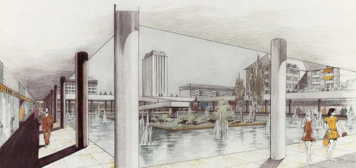 Joël Hardion (architecte), Projet du Centre Urbain du quartier des Fontaines, à Tours, vue perspective, 1972 [source : Archives communales de Tours, 273 W 16].