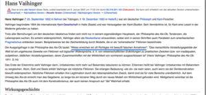 hans vaihinger wikipedia article january 2007