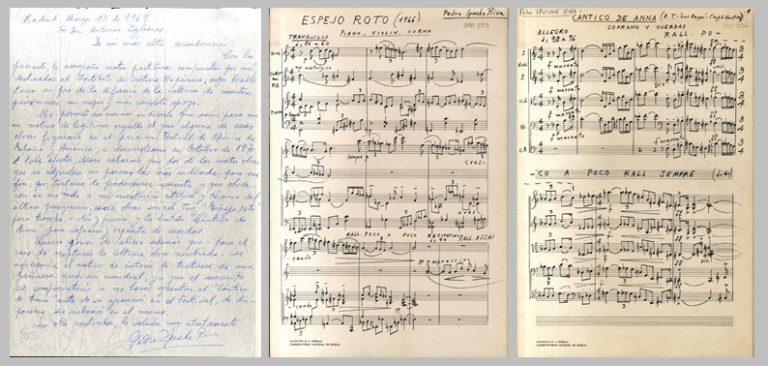 Carta manuscrita y partituras de Pedro Ipuche Riva al Instituto de Cultura Hispánica, que las envía con la intención de que se incluyan en el Festival de Música de América y España (13-3-1969)