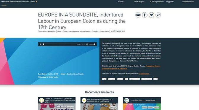 "Programme de diffusion des capsules ""Europe in a soundbite"" sur Euradionantes"