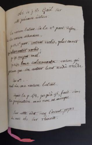 Observations manuscrites de Jean-Baptiste Gail