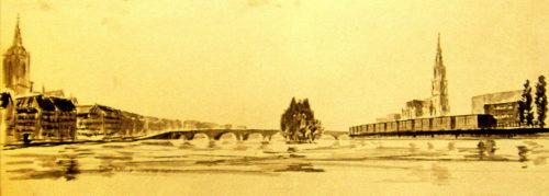 Entwurfszeichnung des Mainufers vom Fluss aus gesehen. Links der Dom, die Brücke über den Fluss und rechts die neu geplante Uferbebauung