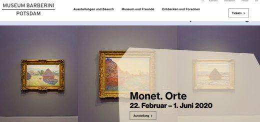 """Ein Screenshot des Internetsauftrittes des Museums Barberini in Potsdam: Mehrere Monet-Bilder sind in einer Reihe aufgehängt, eine Sprechblase weist auf die Ausstellung """"Monet. Orte"""" hin,"""