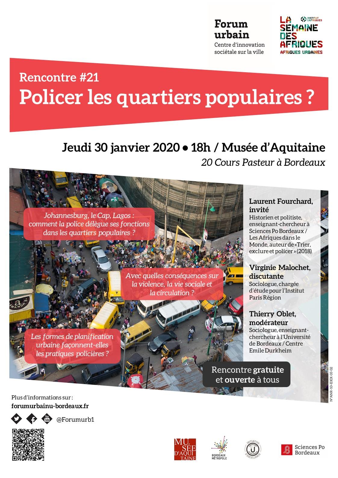 RENCONTRE #21 DU FORUM URBAIN : Policer les quartiers populaires | 30/01/2020