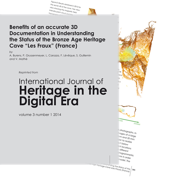 Référence bibliographique :  BURENS  A., GRUSSENMEYER P.,  CAROZZA L.,  LÉVÊQUE F.,  GUILLEMIN S.,  MATHÉ V., 2014 -  Benefits of an accurate 3D Documentation in Understanding the Status of the Bronze Age Heritage Cave « Les Fraux » (France), International Journal of Heritage in the Digital Era, vol. 3, n°1, pp. 179-195.