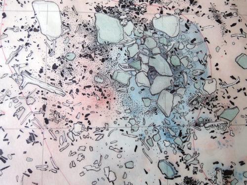 Série 14-16: Pincevent (77), approche synchronique intensive (à partir de 1964). Déduire des dynamismes de circulation (...). Relevé manuel des vestiges au sol, dessin Roger Humbert et Pierre Guilloré. Archives CNRS-MAE-Nanterre (fonds EP).