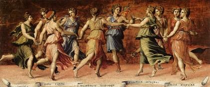 Si j'étais la dixième muse Baldassare-peruzzi-apollon-et-les-muses-1514-23-galleria-palatina-palazzo-pitti-florence-source-web-gallery-of-art