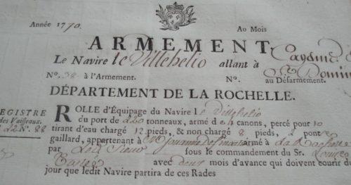 Rôle d'équipage du Villehélio de La Rochelle (source : SHDR, 6P6-2, n°38)