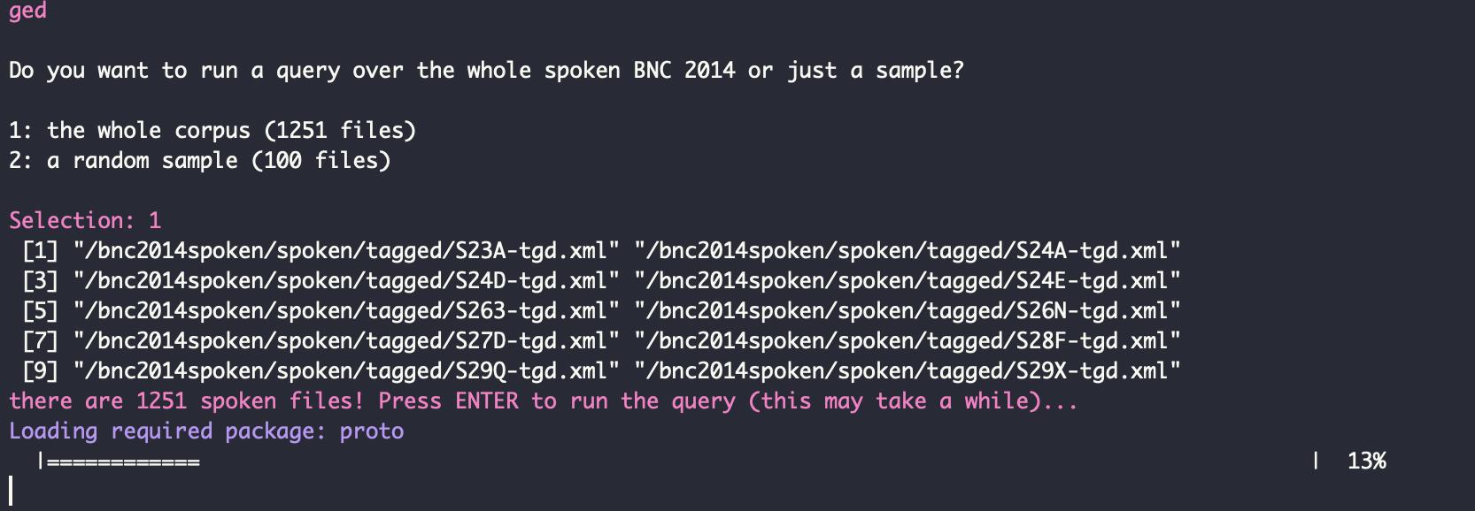 BNC 2014 query()  An interactive R script for a