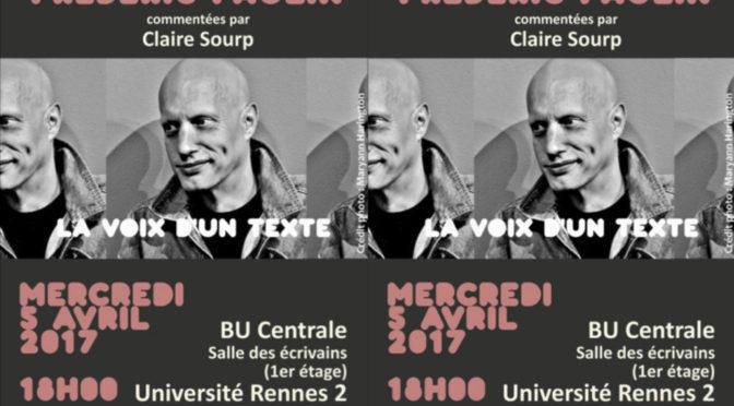 VdT – LECTURES DE FRÉDÉRIC PAULIN, COMMENTÉES PAR CLAIRE SOURP