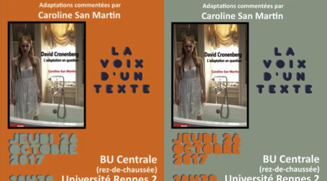 VdT : Les adaptations de Cronenberg, commentées par Caroline San Martin