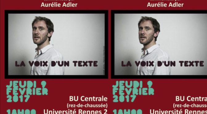VdT – Lectures d'Arno Bertina, commentées par Aurélie Adler