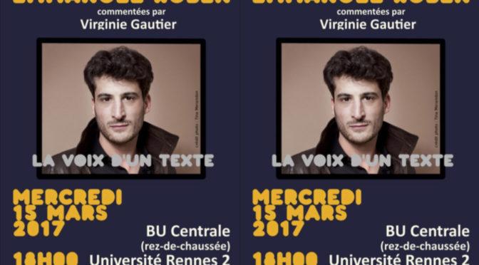VdT – Lectures d'Emmanuel Ruben, commentées par Virginie Gautier