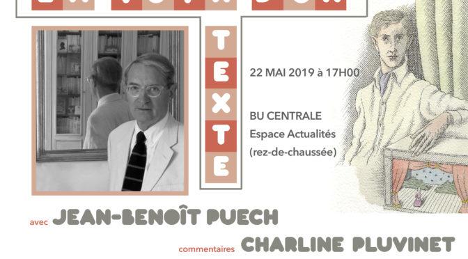 Voix d'un texte avec Jean-Benoît Puech