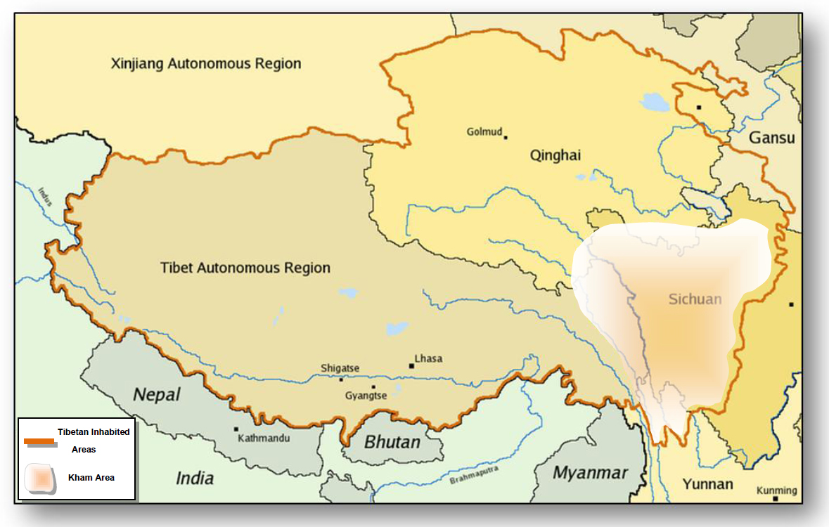 Map of Tibetan inhabited areas in RPC, showing the Kham region
